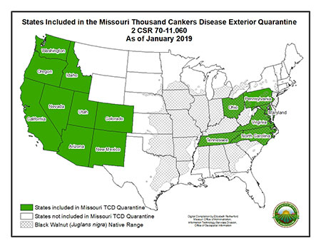 Map of States known to have Thousand Cankers Disease as of January 2019