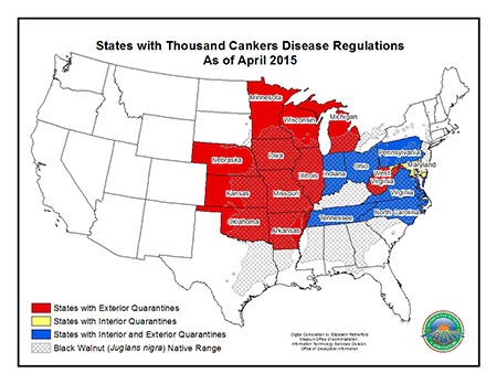 Map of States with Thousand Cankers Disease Regulations as of April 2015