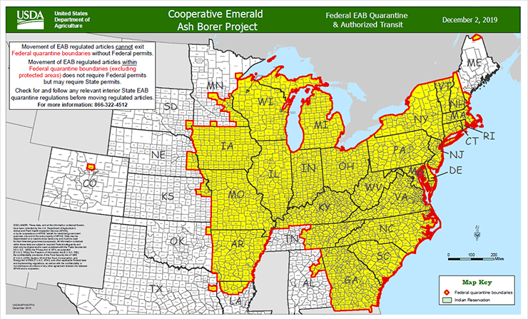 Federal EAB Quarantine & Authorized Transit Map